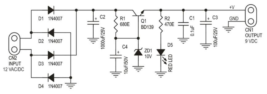 9vDC regüle edilmiş güç kaynağı şema