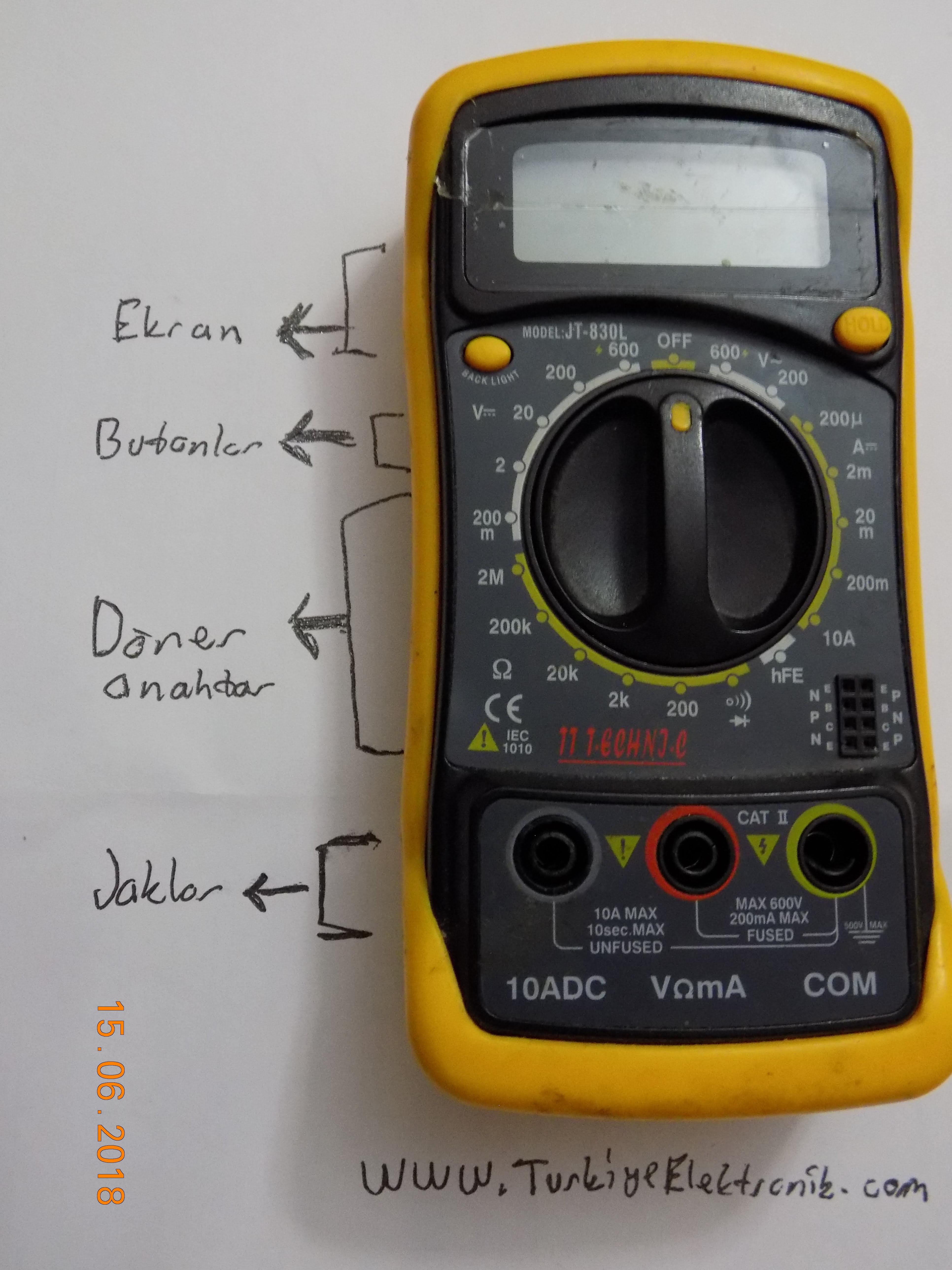Multimetrenin Bölümleri